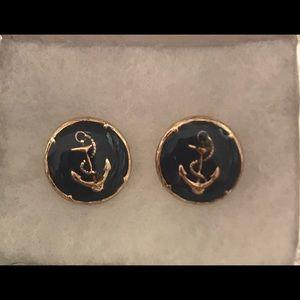 Navy and Gold Circular Anchor Earrings